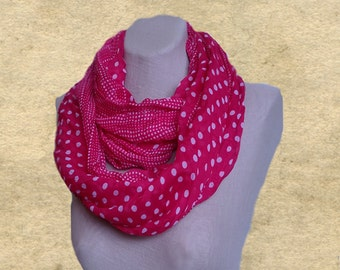 Polka dot pink scarf, Infinity scarf, Spring summer scarf, Creased circle scarf, Cotton scarf loop, Lightweight scarf, Wrinkled scarf
