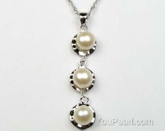 White pearls pendant, freshwater pearl pendant, genuine real pearl sterling 925 silver chain necklace, bridal necklace, 6-7mm, F1320-WP