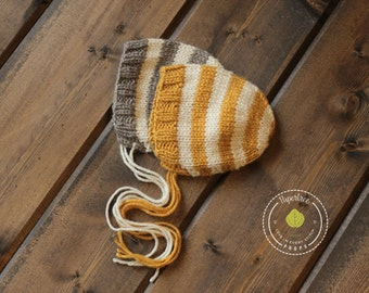 Beeswax or Clay Newborn knit bonnet Prop.