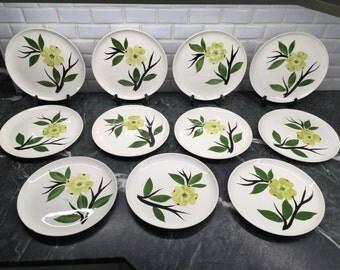 """Vintage Mid-Century Dixie Dogwood """"Joni"""" Dinner Plates / Lot of 11"""