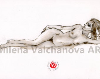 A lazy young naked woman, Nude Pencil Drawing, Sensual Nude Art, Fine Art Nude, Figure Drawing, Contemporary Nude- Naked Woman