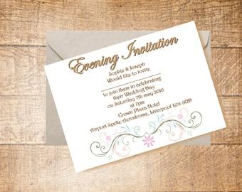 Wedding Evening Invitation and Envelope | Summer Wedding | Pastel Vintage Package
