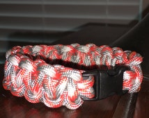 Grey White and Red handmade paracord bracelet; cobra knot; paracord; bracelet; grey white and red