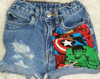 Marvel distressed shorts