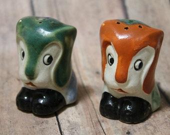 Vintage Japan Salt & Pepper Shakers-Fox salt shakers-Pottery-Salt and Pepper-Kitchen decor