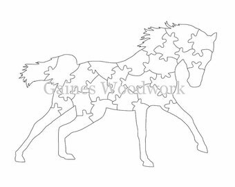 Handmade Scroll Saw Puzzle Template - Digital Download Printable Scroll Saw Pattern - 25 Piece Wooden Horse Puzzle Pattern