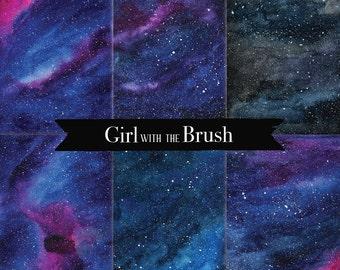 Galaxy paper, Digital Paper, Digital Watercolor Texture Of Starry Skies, Scrapbooking Paper, Galaxy Digital Paper, Night Sky,  cosmic sky