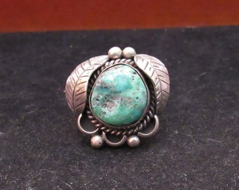 Sterling Silver Turquoise Native American Style Turquoise Ring (0013)