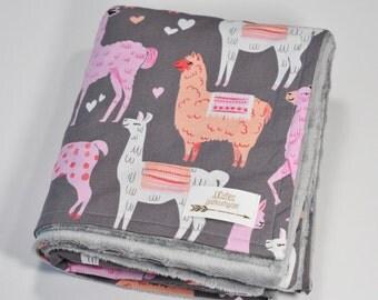 Minky baby blanket - Personalized Baby llama minky blanket - Zoo blanket - baby shower gift - llama nursery - Llama blanket - Newborn