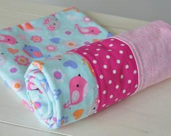Baby Flannel Blanket - Girls Bird Flannel blanket - Baby blanket - Toddler blanket - Swaddle - Baby Shower Gift - Newborn Flannel Blanket