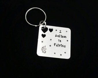Handstamped I believe in fairies keyring fairy gift