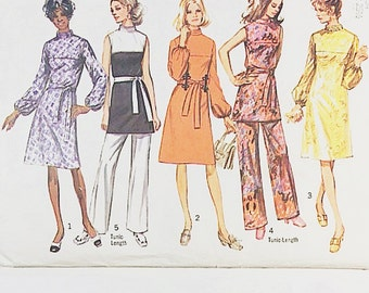70s Dress Pattern   Simplicity 9125 Misses Tunic & Pants Pattern   70s Sewing Pattern