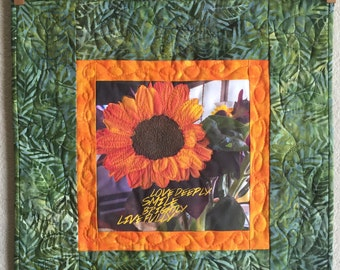 Art Quilt - Love Deeply, Smile Brightly, Live Fully
