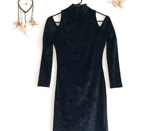 Large Vintage Black Velvet Dress - 80s Crushed Velvet Dress - 1980s Black Velvet Bodycon Dress