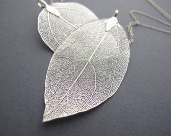 Silver leaf etsy leaf necklace silver leaf necklace long silver necklace leaf pendant real leaf necklace aloadofball Image collections