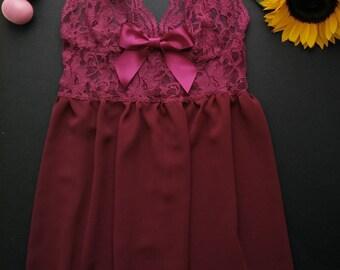 Maroon/ Red lace babydoll, Lingerie, Underwear