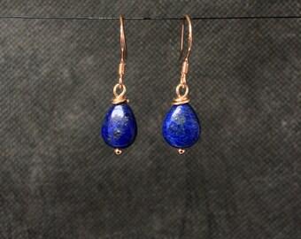 Lapis Lazuli Earrings, Lapis Lazuli Drop Earrings, Sterling Silver Earrings, Rose Gold Earrings, Lapis Lazuli Jewellery, Bridal Jewellery