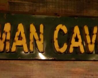 "Rustic Industrial Steel MAN CAVE sign 35""x 12"" x 2.5"""