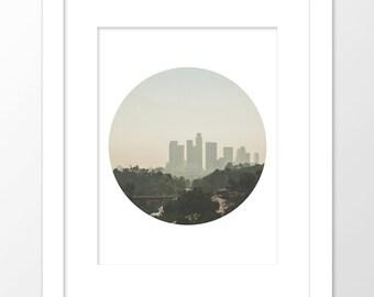 Los Angeles print, instant download, downtown LA photography, DTLA, California artwork, LA skyline photo, circle print, Myan Soffia, decor