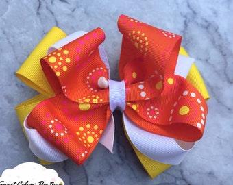 Orange & Yellow Pattern Layered Hair Bow
