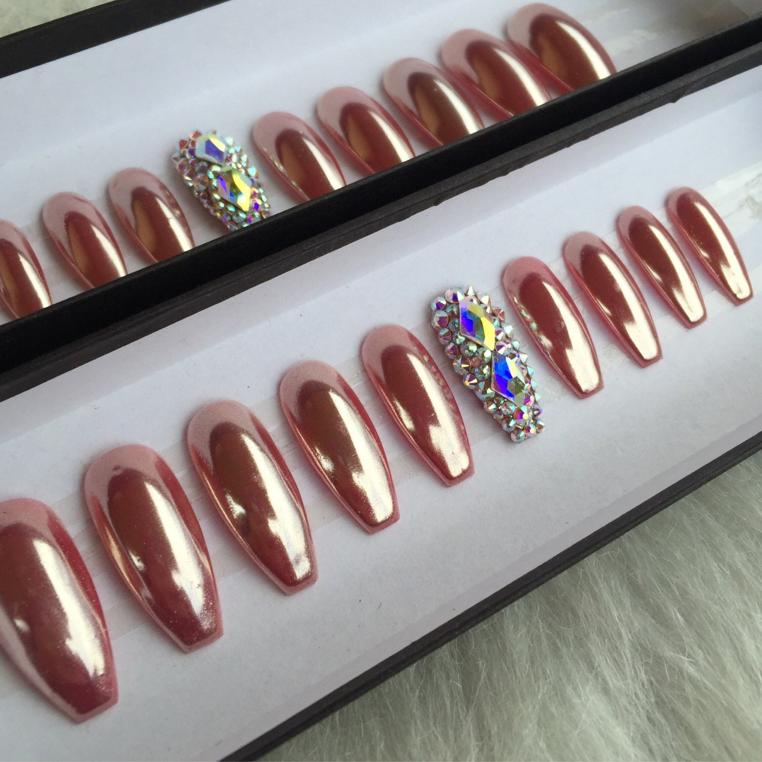Crystal Chrome Nails: Rose Gold Chrome Press OnNails With 2 Accent By NailedByCristy