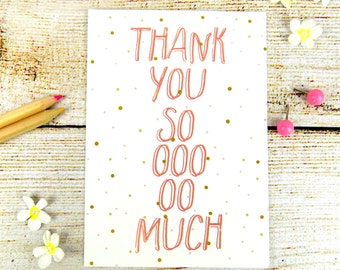 Thank You Postcard, Cute Thanks Quote Pink Confetti Stationary