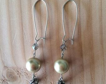 Pearl, and Rhinestone Drop  Earrings