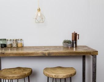 Ginnredin Handmade Industrial Chic Reclaimed Wood and Steel Legs Hig Poser Table. Cafe Bar Restaurant. Custom Made to Order.