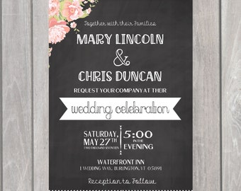 Floral Chalk Wedding Invitation and Save our Date- Printable- Wedding Suite, Save the Date, RSVP card- Rustic Wedding Invitation- Chalkboard