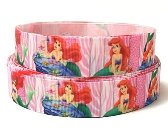 "Little Mermaid Ribbon, Ariel Ribbon, 1"" Grosgrain Ribbon, Hair bow supplies, Scrapbooking, Giftwrap etc."