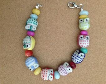 Colorful owl bracelet