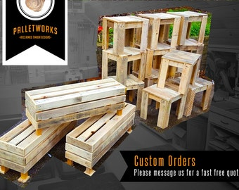 Custom Pallet Furniture Orders // Message PalletWorksUK for a fast free quote // 3D Designs