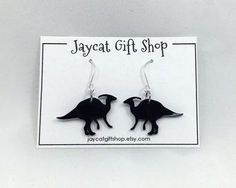 Dinosaur Earrings, Parasaurolophus Earrings, Dino Earrings, Geeky Earrings, Nerdy Earrings