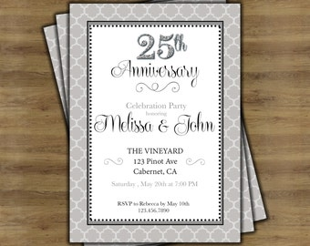25th party printable | Etsy