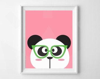 Panda With Glasses Print | Animal Nursery Print | Nursery, Child's Room Decor | Digital Download