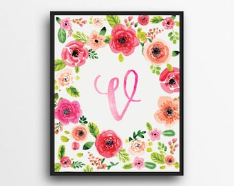 Monogram Letter V Print | Floral Wreath Monogram | Initial Print | Watercolor Floral Print | Digital Download