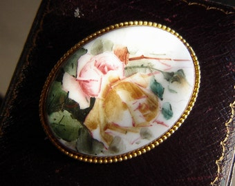 Antique rose brooch painted fine Gallery