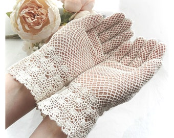 Bridal Crochet Gloves, Knitted Ivory Gloves, Lace Cream Crocheted Gloves