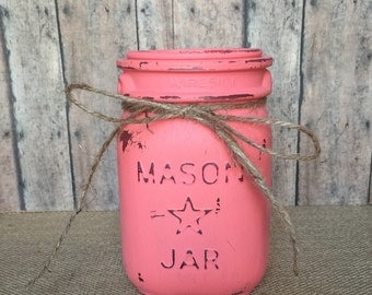 Coral colored hand painted pint sized mason jar