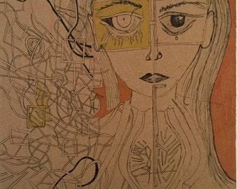 Girl (ORIGINAL ILLUSTRATION) mixed medium by Vixcrown