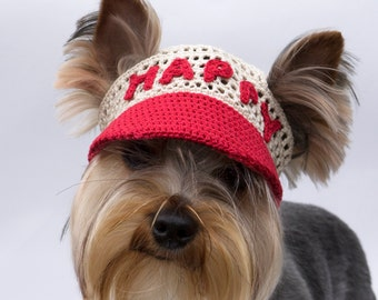 Dog's cap With Text/ Baseball Cap for dog/Visor Cap for dog/Hat for dog/ Dog's cap/Sun hat for dog/Dog's Crochet Baseball cap