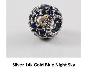 Pandora Silver 14K Blue Night Sky Bead Charm 79371CZ