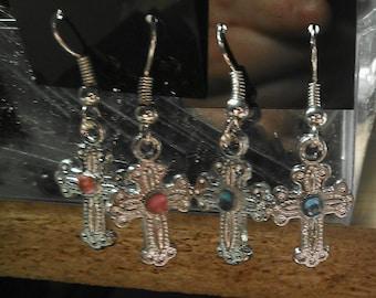 Goth silver Cross Earring