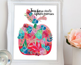 Printable Teacher Gift / Thank You Teacher Printable Art / Teacher Appreciation / End of School Year Gift DIY / Apple / Instant DOWNLOAD