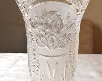 Vintage Vase, Large Crystal  Vase, Lead Crystal Cut Vase