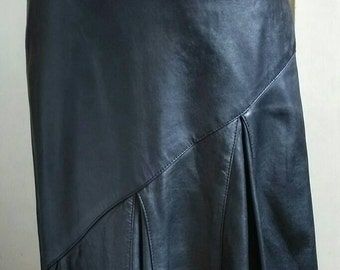 Maxi black leather skirt 80's