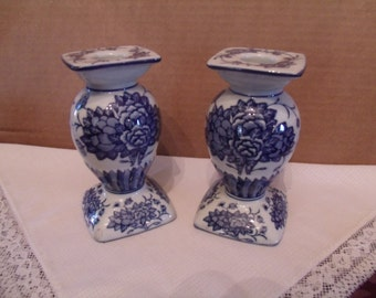 Porcelain Glazed Set of two Candle Holders,(# 23/2)