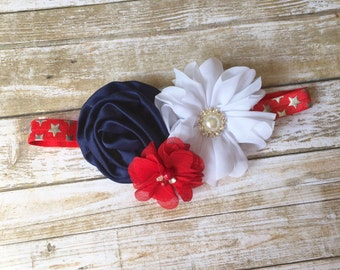 4th of July Headband, 4th of July Baby Headband, Patriotic Headband, Fourth of July, Baby Headband, Newborn Headband, Baby Girl Headband