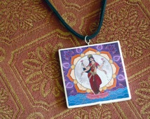 "Lakshmi the Goddess of Wealth, Beauty, & Prosperity, pendant necklace, 18"" adjustable faux suede cord, original art, one of a kind"