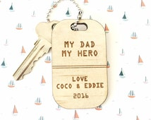 TIMBER KEY RING - Custom Laser Cut Natural Wood Key Ring Tags, Fathers Day, Birthday etc